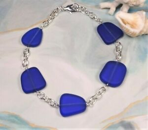 """COBALT BLUE Sea glass jewelry hand wired 8"""" bracelet with lobster claw closure"""