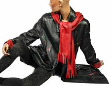 Cool & Calm XXL Ledermantel Kapuze schwarz Rot Leder Echtleder leather coat hood
