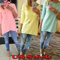 Women Side Ruched Cinched 3/4 sleeve Tunic Top Shirt Casual Loose Solid Pullover