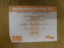 08/09/1998 Ticket: Rotherham United v Plymouth Argyle  (small bit of corner cut