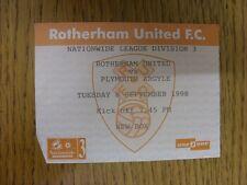 08/09/1998 Ticket: Rotherham United v Plymouth Argyle  (small bit of corner cut