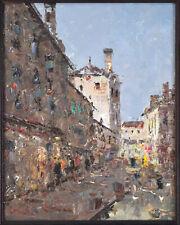 Impressionist Oil Painting European Street Scene by Morgan
