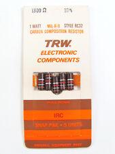 3.3 Ohm to 22M Ohm - 1W 10% - Carbon Comp Resistors - TRW / AB, etc. *NOS*