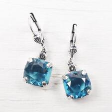 Catherine Popesco Antique Silver Tone Square Swarovski Crystal Earrings in Teal