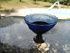 COBALT BLUE ROYAL LACE CHROME FOOT SHERBET 1930'S HAZEL ATLAS DEPRESSION GLASS