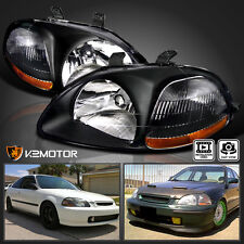 [JDM Black] 1996-1998 Honda Civic DX EX LX Replacement Headlights Left+Right