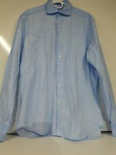 Barba Napoli Dandylife Long Sleeve Button up blue  Shirt made in italy.  43/17