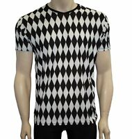 Men's Black And White Harlequin Diamonds Print V-Neck T-Shirt Top Goth Punk Emo