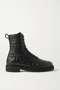 Fendi Black Logo-embossed Leather Ankle Boots, New, Ori$1099!!