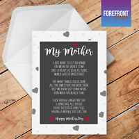Personalised Mother's Day 'My Mum' Poem birthday greeting card, Special gift