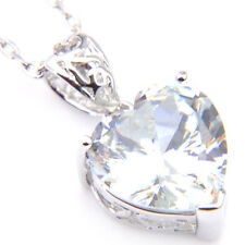 New Love Heart Shaped Natural White Fire Topaz Platinum Plated Necklace Pendants