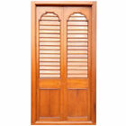 Antique Anglo Indian Teak Louvered Double Door with Frame c. 1850