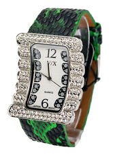 VISAGEXCHANGE:WOMENS GREEN SNAKESKIN LOOK LEATHER BAND QUARTZ ANALOG WATCH