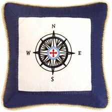 SAIL AWAY COMPASS PILLOW : BLUE EMBROIDERED NAUTICAL BEACH BOAT QUILTED THROW