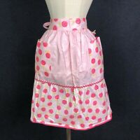 Vintage Apron Lollipop Pink Half Apron Waist 2 Pockets UNION MADE LABEL NOS TAG