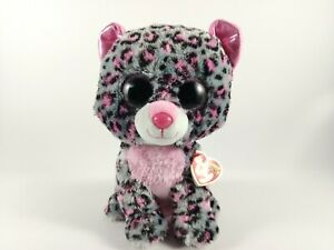 Ty Beanie Boo Tasha The Leopard Grey with Pink Spots 9in/23cm Medium with Tags