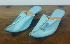 MOROCCAN HANDMADE BLUE LEATHER SLIP ON MULES SHOES UK SIZE 6 BRAND NEW
