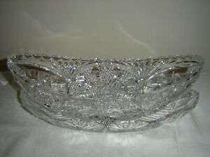 Vintage Crystal Cut Glass Oval Relish Serving Tray in Crystal Saucer Dish 12""