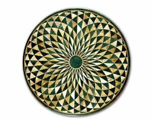 30'' GREEN  Marble Side Table Top Inlay Handmade Home set Decor  malachite