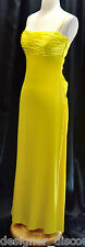 MARY L. COUTURE Dress Evening Gown Yellow matte jersey satin criss cross back 4