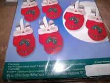 "Design Works Felt Jewel Christmas MITTENS SILVERWARE Pockets 4"" x 6"" Makes 6"