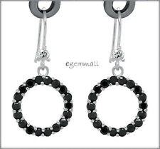 Sterling Silver Circle Donut Earrings CZ Black #65300