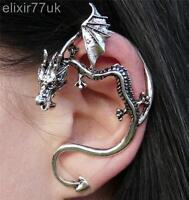 GOTHIC SILVER DRAGON SNAKE EAR CUFF CLIP WRAP LURE STUD EARRING NEW PUNK GIFT UK