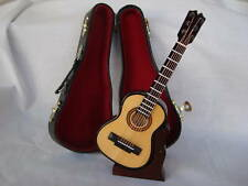 "Folk GUITAR Music Box 6.25"" L W/Stand/Case Plays Greensleeves Music Gift NIB"