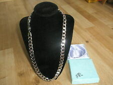 """24""""L 12mmW Silver 18K White Gold Plated No Stone Chain Men's Necklace & Gift Box"""