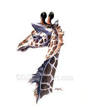 GIRAFFE 8 x 10 Wildlife ART Print Signed by Artist DJ Rogers