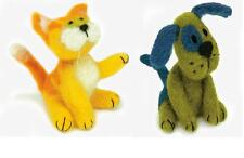 Lot of 2 Felted Character Needle Felting Kits  KITTY ~  PUPPY DOG Dimensions