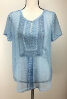 Daniel Rainn Women's Top S Small Short Sleeve Crochet Panel Scoop Neck Blue NWT