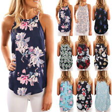 UK Womens Summer Casual Blouse Sleeveless Floral Vest Shirt Tops Ladies Cami