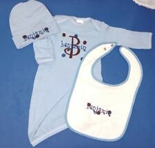 Personalized Baby Boy or Girl SLEEPER Gown Creeper HAT & BIB Outfit Gift SET