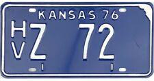 *99 CENT SALE*  1976 Kansas SUBSTITUTE PASSENGER License Plate #HVZ72 NR