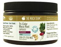 Raw Organic Premium Maca Capsules - Fresh Harvest from Peru - 750 Mg, 200 Ct