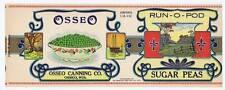 Run-O-Pod, can label, Sugar Peas, Osseo Canning Co, WI, tree, ship