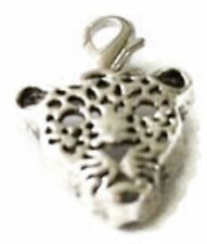 LOVELY SILVER LEOPARD'S HEAD CLIP ON CHARM FOR BRACELETS   - SILVER ALLOY - NEW