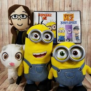 Plush Lot Minion Stuffed Despicable Me Toy Factory 2 DVDs White Yellow Girl