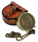 Nautical Compass w/ Leather Case Chain Antique Sailor Gift For Son Friend Marine
