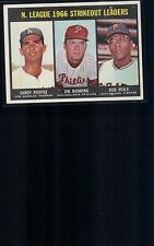 1967 Topps #238 N. League Strikeout Leaders, Koufax, Bunning, Veal Bball Card446