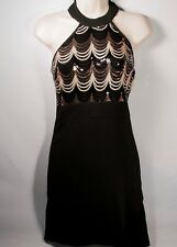 Crystal Doll Women's Black Gold Sequin halter Bodycon Party Dress Juniors 5