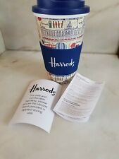 HARRODS MULTI PRETTY CITY THERMAL TRAVEL MUG/CUP. NEW. MICROWAVE/DISHWASHER SAFE
