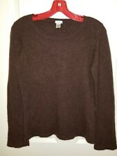 KIKO CASHMERE Women's Brown Crewneck  Long Sleeve Sweater 100% Cashmere Sz M