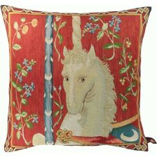 French Tapestry Decorative Throw Pillow Cushion Cover 14x14 The Unicorn Cotton