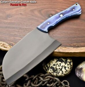 Handmade Powder Coated Carbon Steel Chopper Blade Full Tang Knife | Hard Wood