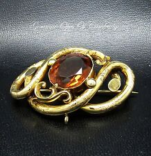Lovers Knot Madeira Cairngorm Citrine 10ct Gold Plated Brooch 15.3g 50mm x 33mm