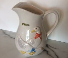Otagiri 1983 Never Used Vintage Handpainted White Geese Goose Pitcher Mint