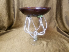 "Makora Krosno Pedestal Bowl Twisted Art Glass Hand Made in Poland Amethyst 11"""