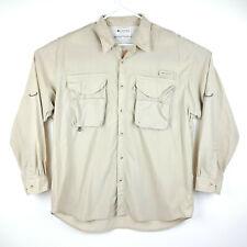 Men's Large Columbia Pfg Performance Fishing Gear Khaki Vented Long Sleeve Shirt